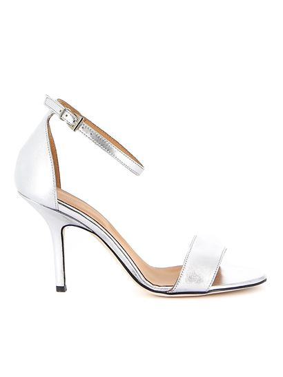 Dondup - Mirror leather sandals in silver