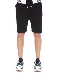 Balmain - Black and white logo short jogging pants