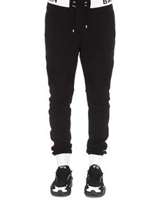 Balmain - Black and white logo jogging pants
