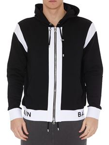 Balmain - Black and white cotton hoodie