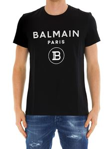 Balmain - Silver logo cotton T-shirt