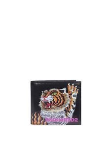 Dsquared2 - Tiger print leather wallet in black