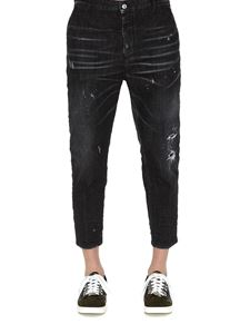 Dsquared2 - Cropped used effect jeans in blacj