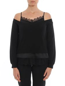 Twin-Set - Satin and lace detailed sweater