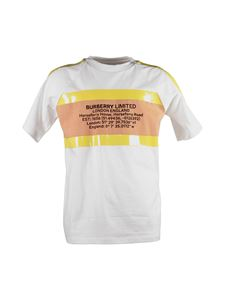 Burberry - White T-shirt with coordinates and tape details