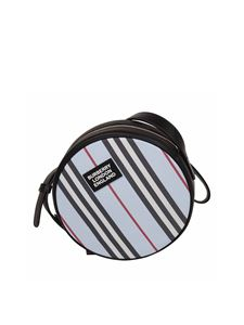 Burberry - Light blue Icon Stripes round shoulder bag