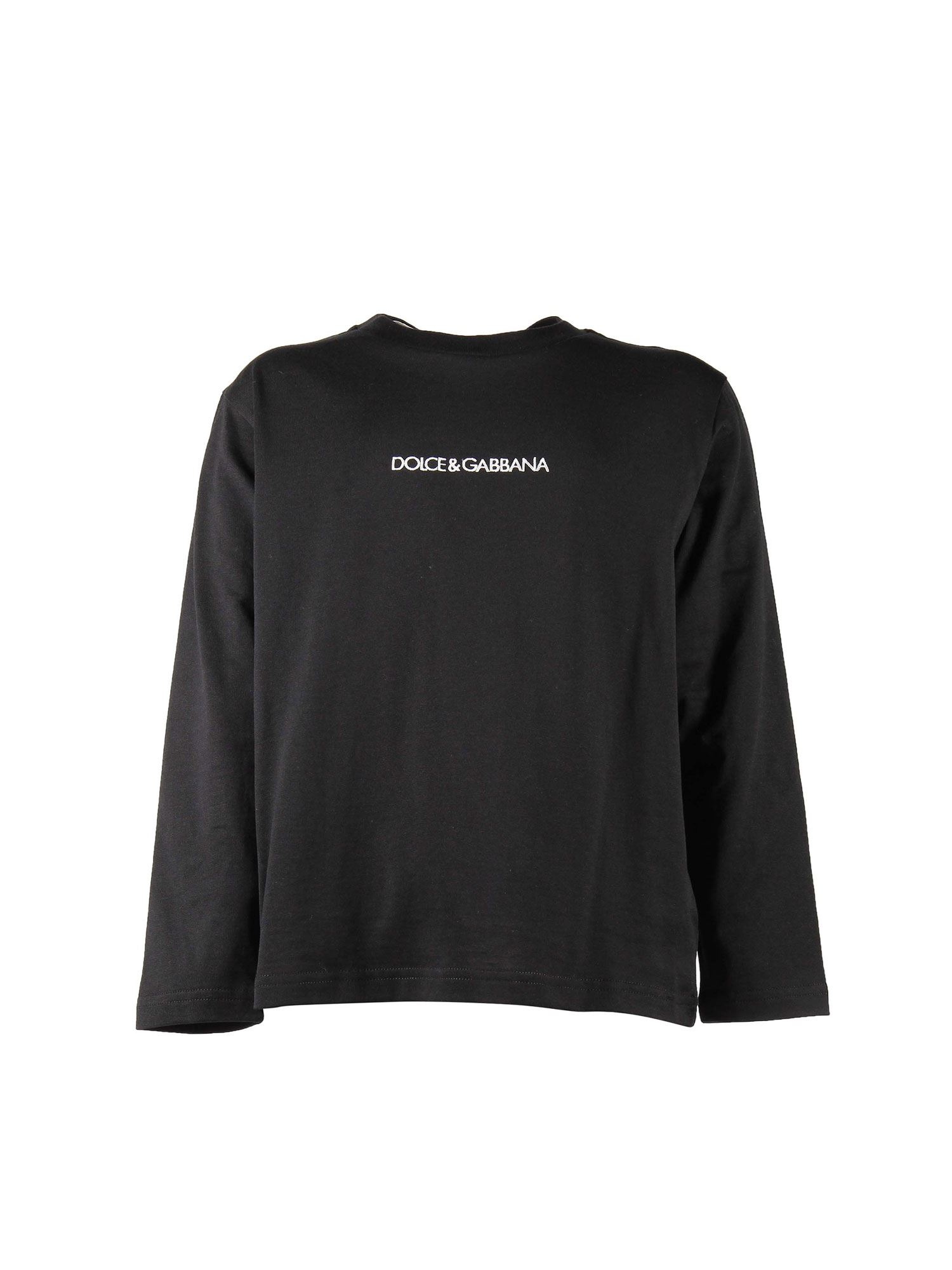 Dolce & Gabbana Jr LONG-SLEEVED BLACK T-SHIRT