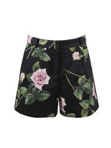 Dolce & Gabbana Jr - Shorts neri stampa Tropical Rose