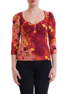 Blumarine - Draped floral blouse in red