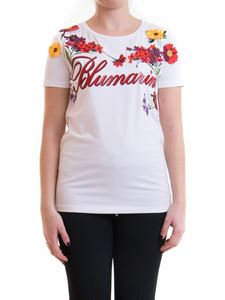 Blumarine - Floral embroidered t-shirt in white