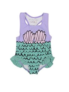 Stella McCartney Kids - One piece swimsuit with print in purple