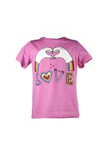 Stella McCartney Kids - T-shirt fucsia con stampa