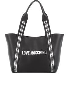 Love Moschino - Logo print grained leather tote in black