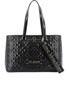 Love Moschino - Quilted tote with logo lettering in black