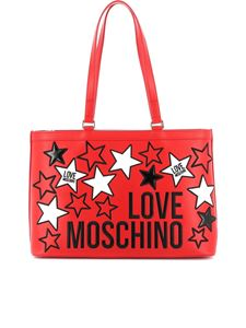 Love Moschino - Logo and stars embroidery tote in red
