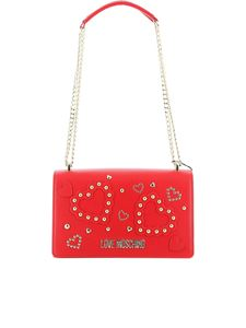 Love Moschino - Studded hearts shoulder bag in red