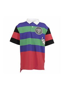 Burberry - Striped polo shirt with logo graphics