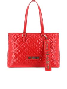 Love Moschino - Quilted tote with logo lettering in red