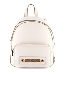 Love Moschino - Logo lettering backpack in white