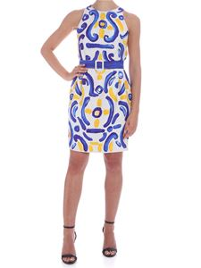 Moschino - Majolica print sleeveless dress in ice color