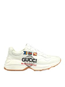 Gucci - Sneakers Rhyton bianche con stampa Worldwide