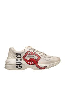 Gucci - Rhyton sneakers with mouth print in white