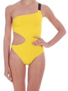 Karl Lagerfeld Beachwear - One-shoulder swimsuit in yellow