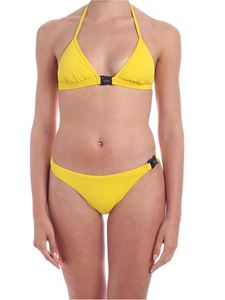 Karl Lagerfeld Beachwear - Branded clip bikini top in yellow