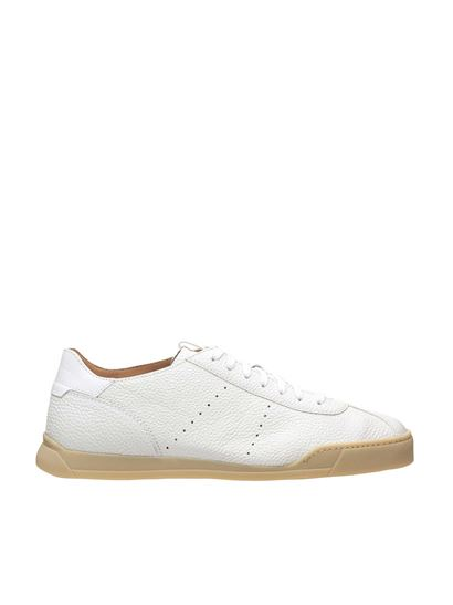 Santoni - Hammered leather sneakers in white