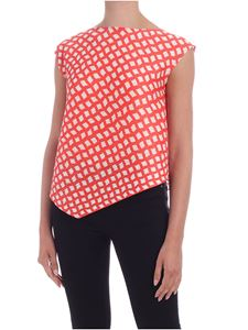 PLEATS PLEASE Issey Miyake - Step top in white and coral color