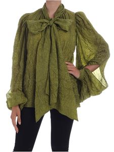 Rochas - Crumpled effect blouse in green