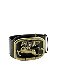 Etro - Pegaso buckle leather belt in black