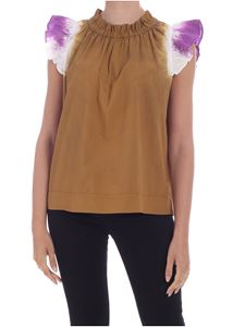 Sea New York - Zelda top in white and purple and camel color