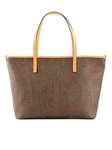 Etro - Paisley coated canvas tote bag in brown
