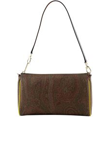 Etro - Paisley jacquard canvas shoulder bag in brown