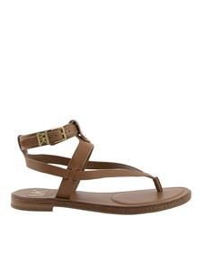 Michael Kors - Pearson leather sandals in camel color