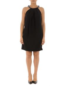 Emporio Armani - Beaded neckline cady dress in black