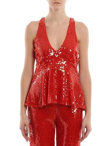 Patrizia Pepe - Sleeveless sequins top in red