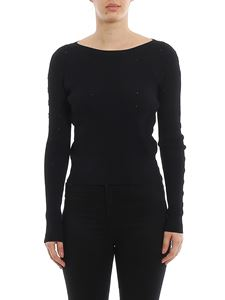 Patrizia Pepe - Ribbed sweater with rhinestones in black