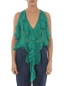 Dsquared2 - Ruffled chiffon top in green
