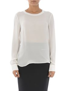 Dsquared2 - Silk crew neck semi transparent blouse in white
