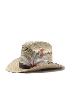 Saint Laurent - Straw cowboy hat with feathers