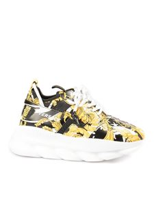 Versace - Chain Reaction printed sneakers in yellow and black