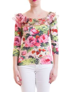 Blumarine - Ruffled and floral print sweater in pink