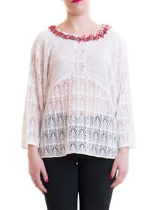 Blumarine - Knitted blouse with coral detail in white