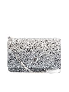 Jimmy Choo - Borsa a tracolla Palace Mini in glitter argento