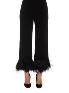 Parosh - Feather trimmed cropped pants in black