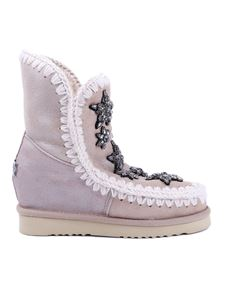 Mou - Eskimo beige ankle boots with rhinestone stars