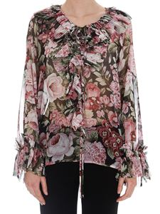 Parosh - Pleated ruffle floral blouse