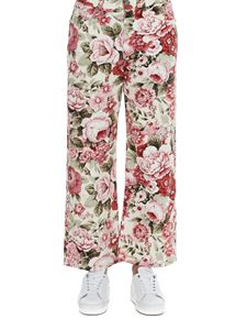 Parosh - Floral print stretch trousers in pink